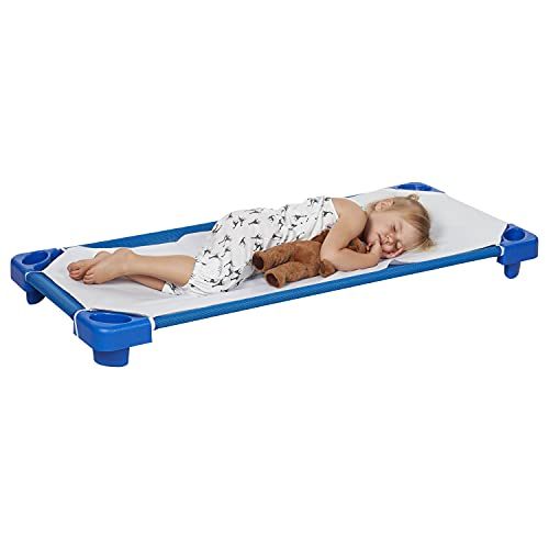ECR4Kids - ELR-16121 Childrens Naptime Cot with Sheets, Stackable Daycare Sleeping Cot for Kids, 52 L x 23 W, Ready-to-Assemble, Blue (Set of 6)