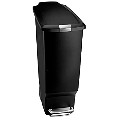 simplehuman 40 Liter / 10.6 Gallon Slim Kitchen Step Trash Can, Black Plastic Bin With Secure Slide Lock