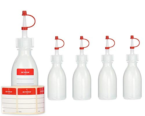 5 x 50 ml Tropfflaschen Kunststoffflaschen, Plastikflaschen aus LDPE mit Spritzverschluss, Laborflaschen mit Tropfverschluss, leere Spritzflaschen mit rotem Halteband, inkl. 5 Beschriftungsetiketten