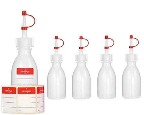 5 botellas de plástico con gotero Octopus de 50 ml, botellas de plástico de PEBD con tapa de chorro, botellas de laboratorio con tapa de goteo, botellas de chorro vacías con etiquetas