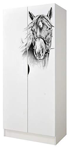 Leomark Armoire à Deux Portes - Roma - avec Portes coulissantes fonctionnelles, penderie pour vêtements, Style scandinave, Meubles pour Enfants Dim: 161,5 (H) cm (Impression UV: Portrait d'un Cheval)