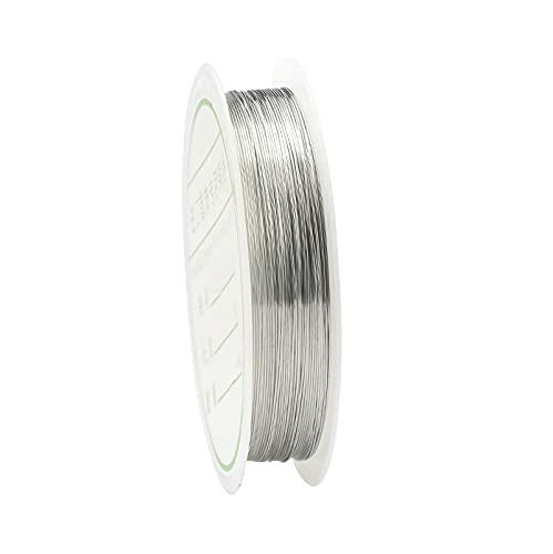 XKMY Cordón de cuentas de 0,2 a 1 mm de color plata/oro/oro rosa de alambre de cobre para pulsera y collar de pulsera DIY Colorfast cordón de joyería (color: plata, tamaño: 0,25 mm a 18 metros)