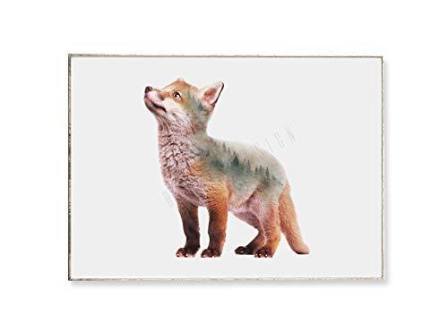 DIN A4 Kunstdruck Bild LITTLE FOX -ungerahmt- Fuchs, Bäume, Wald, Portrait, skandinavisch, Tier, Tannen