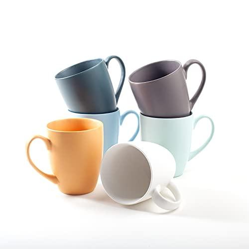 Hanseküche Kaffeebecher 6er Set in Groß – Kaffeetassen aus hochwertiger und massiver Keramik, 400 ml Volumen und großem Henkel, große Becher in mehreren Farben und schönem Muster (Bunt Matt)