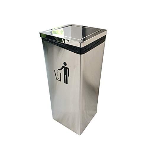 Poubelle carrée de secousse d'acier Inoxydable avec Le Seau intérieur dans/Grandes poubelles extérieures de Recyclage de Corbeille de Stockage de Papier de bacs de Compost (Color : Silver)