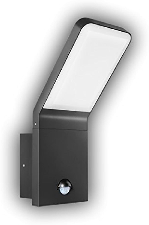 GEV LED-Auenwandleuchte NINA mit Bewegungsmelder, Erfassungswinkel 90 Grad, Dmmerungsschalter, IP 44, 570 Lumen, 3000 K, Beleuchtung warmwei, Aluminium, 9.5 W, Anthrazit, 16,5 x 10 x 25,6 cm