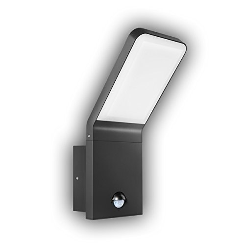 GEV Led-buitenwandlamp NINA met bewegingsmelder, detectiehoek 90 graden, schemerschakelaar, IP 44, 570 lumen, 3000 K, verlichting warmwit, aluminium, 9,5 W, antraciet, 16,5 x 10 x 25,6 cm
