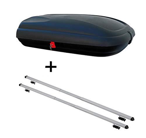Dachbox VDPBA320 320Ltr carbonlook abschließbar + Dachträger Rapid kompatibel mit Skoda Octavia III Kombi (5E) (5Türer) ab 17