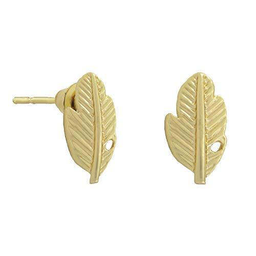 SoulSisters Lieblingsschmuck Ohrstecker Ohrring Schmuck Feder 18k vergoldet im zarten Flügel Blatt Design