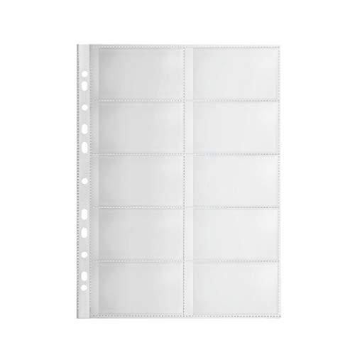 Original Falken 10er Pack Premium PP-Kunststoff Visitenkartenhüllen. Für DIN A4 transparent genarbt mit 10 Fächern Klarsichtfolie Plastikhülle Klarsichthülle ideal für Ordner und Hefter