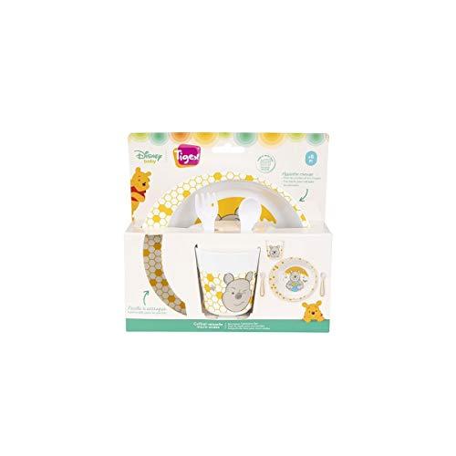 Tigex - Juego de vajilla con plato hondo, vaso, tenedor y cuchara, para diversificación de niños pequeños, apto para microondas, diseño de Winnie the Pooh Disney