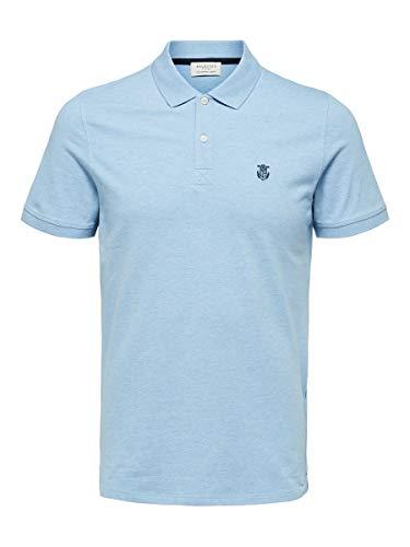 SELECTED HOMME Herren 16049517 Poloshirt, Blau(SkywayMELANGE), Large