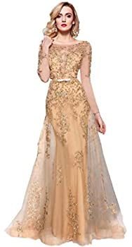 Meier Women s Illusion Long Sleeve Embroidery Prom Formal Dress Gold Size 10