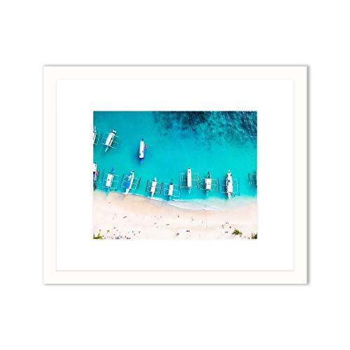 Humble Chic Barcos aéreos mar costero, marco de 11 x 14 con impresión enmarcada de 20 x 25 cm, marco blanco mate para decoración del hogar, sala de estar, dormitorio, baño, oficina