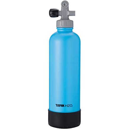 TankH2O Scuba Tank Vacuum Insulated Water Bottle: Great Gift and Accessory for Scuba Divers | Holds 700mL | Food-Grade Stainless Steel Bottle, BPA-Free Cap, Silicone Boot (Blue)