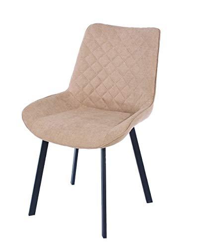 Design Vicenza Asti sedie imbottite in tessuto sabbia con gambe in metallo nero (coppia)