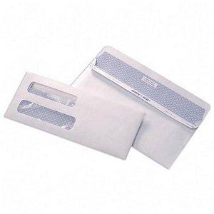 """500 #10 Double Window Flip & Seal White Security Envelopes - 9"""" 3/8 X 4"""" 1/8"""