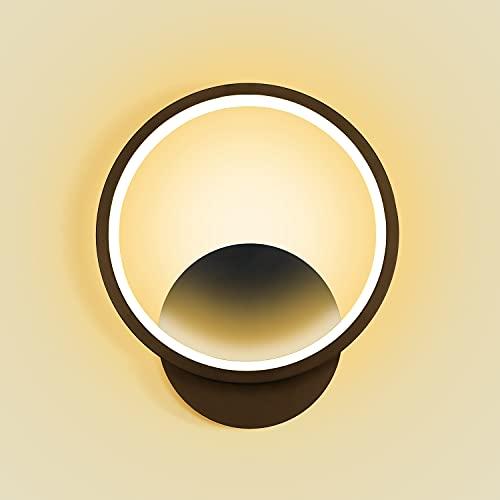 Kimjo Aplique Pared Interior LED 12W, Blanco Cálido 3000K Lámpara de Pared Moderna, Iluminación Decorativa Luz pared LED Negro, Apliques pared Pasillo para Salon Dormitorio Sala Escalera