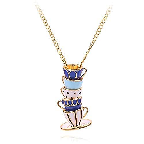 POIUIUYH Co.,ltd Collar Delicado Esmalte de Porcelana Forma de Taza de té de café Durante el Collar Antiguo La Ruta de la Seda China Cadena Regalo Accesorios de Ropa
