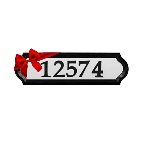 Whitehall Products Nite Bright Reflective Address Sign, 16' x 4.5', Black Numbers White Background
