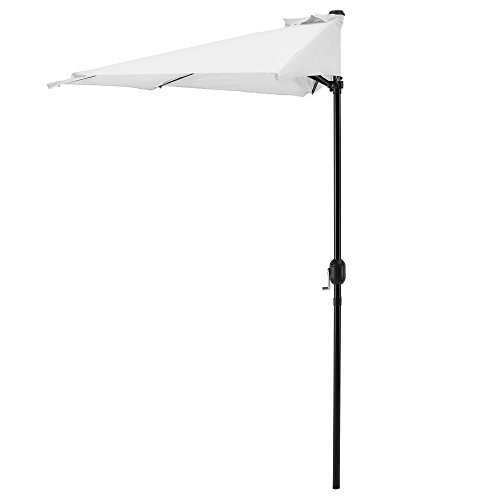 casa.pro] Ombrellone a Mezzaluna Ø300cm Bianco Manovella Giardino Parasol