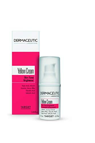 Dermaceutic Yellow Cream - Teint-Aufheller - Aufhellende Gesichtscreme bei einem unregelmäßigen Teint - Pigmentierungscreme - Enthält Kojisäure, Arbutin, Süßholzextrakt, Glykolsäure und Salicylsäure - 15 ml
