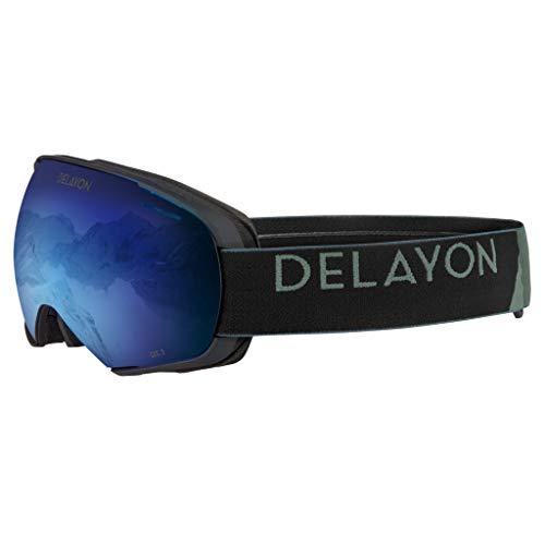 DELAYON Skibrille Snowboardbrille Puzzle, Matte Black, Space Blue