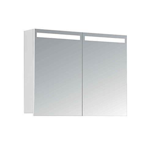 HAPA Design Spiegelschrank Orlando weiß mit LED Beleuchtung in Lichtfarbe 5000K, VDE Steckdose, Softclose Funktion und verstellbaren Glas Ablagen. Komplett vormontiert. SGS geprüft. (80 x 60 x 14 cm)