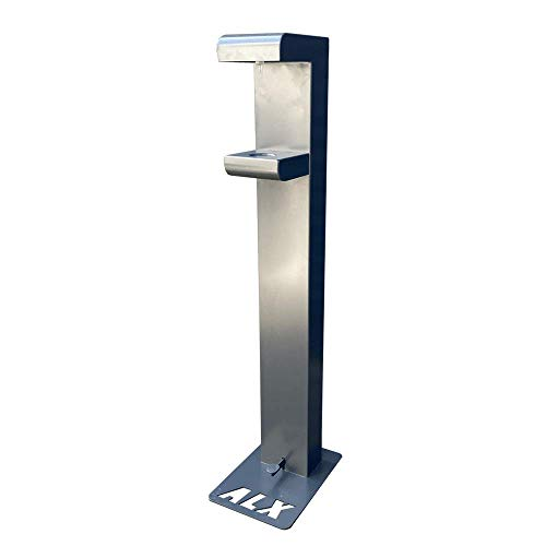 Alumexx - Luxuriöse Hygienesäule (Grau) - Desinfektionssäule - Mit Fußpedal - Mit Fußschalter - Kontaktfrei - Standfest - 3 Jahre Garantie