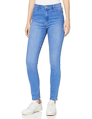 Amazon-Marke: MERAKI Damen Skinny Jeans mit hohem Bund, Blau (Bright Indigo Vintage), 29W / 32L, Label: 29W / 32L