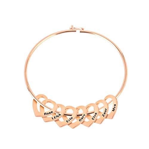 Pulsera Tipo Brazalete con Colgantes en Forma de corazón, ID de Nombre Personalizado Adecuado, para Regalo de joyería de Mujer Madre Esposa 7 Peach Heart Rose Gold