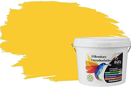 RyFo Colors Silikonharz Fassadenfarbe Lotuseffekt Trend Zinkgelb 3l - bunte Fassadenfarbe, weitere Gelb Farbtöne und Größen erhältlich, Deckkraft Klasse 1