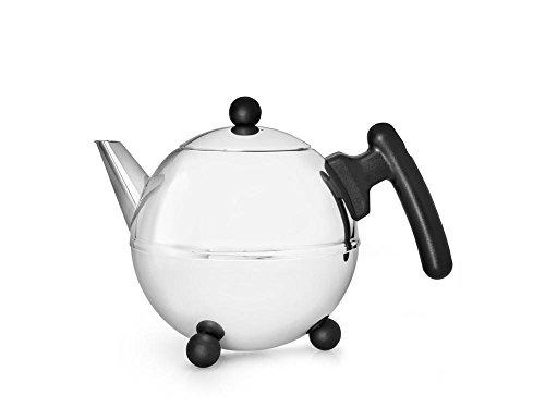 doppelwandige Teekanne Duet® Bella Ronde Edelstahl glänzend schwarze Beschläge 0,75 ltr.