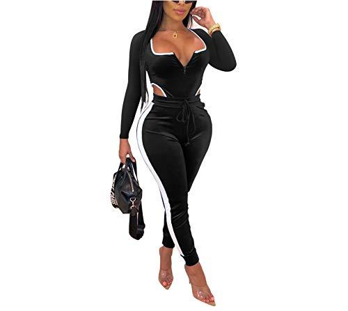 Velvet Bodysuit Jogger Pants Set Sexy 2 Piece Outfit Long Sleeve Bodycon Jumpsuits Clubwear Catsuits T9395 Black-XXL