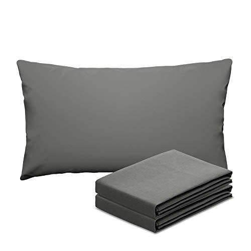 eletecpro Kissenbezüge 40x60cm 2er-Pack Grau,100% Mikrofaser Kissenbezug mit Hotelverschluss, Hypoallergen Kissenhüllen Super weich, Anti-Falten, Farbechte,Hautfreundlich, in großer Farbauswahl