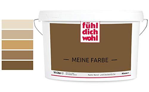 Fühl Dich Wohl Meine Farbe braun, matte Wandfarbe braun, hohe Deckkraft, verschiedene Brauntöne zur Auswahl (2,5L, Dunkelbraun E5-40)