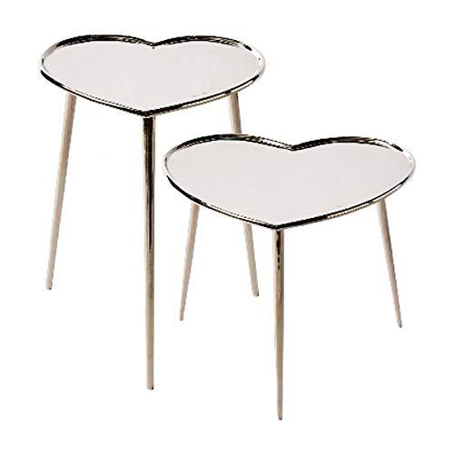 Riviera Maison - Beistelltisch Set - Lovely Heart End Table S2 - Aluminium - BxH 50x40 cm & 40x50 cm