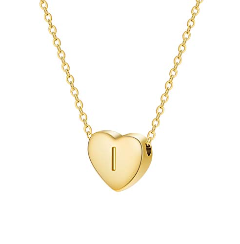 Dainty Heart Initial Necklace Letters I Alphabet Pendant Necklace Small Heart 18K Real Gold Plated Personalized Necklace for Girl Women