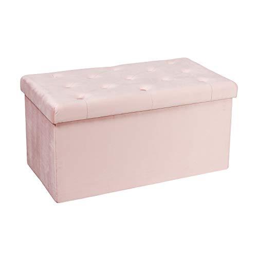 Bonlife Sitztruhe Sitzbank Sitzhocker Aufbewahrungsbox mit Deckel Stoff Stauraum Faltbarer Fußhocker Samttuch,Rosa Deko Wohnzimmer,80 x 40 x 40 cm