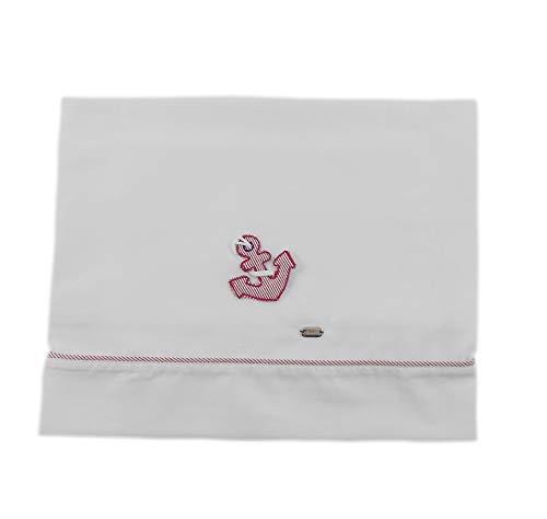 NINNAOH Juego de sábanas con diseño de cochecito de bebé, de algodón, blanco con ancla de bebé, E21LE202