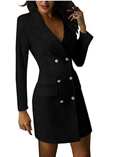 Shujin Damen Herbst Winter Elegant Business Blazer Kleider Anzug Zweireihig Solide Blusenkleid Langarm V-Ausschnitt Minikleid Mit Knopf