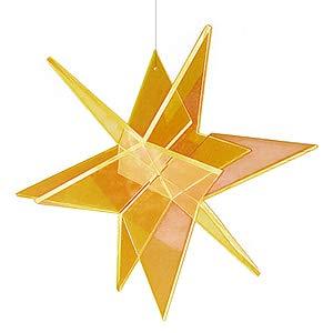 Cazador del Sol ® Estrella Sonnenfänger 3D Stern schwebend 13 x 13 cm - gelb