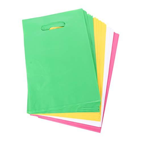 ULTECHNOVO 100 Bolsas de Mercancía con Bolsas de Compras Al por Menor Troqueladas con Asa Bolsas de Regalo para Empaquetar Ropa Camisetas Libros Productos Comestibles (Color Aleatorio)