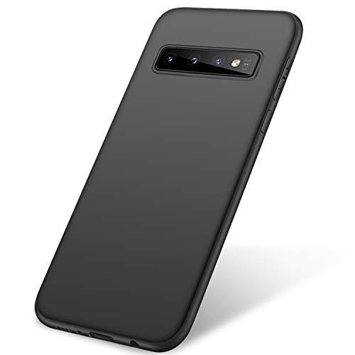 Whew Matt Schwarz Kompatibel mit Samsung Galaxy S10 Plus Hülle, Ultra Dünn S10 Plus Handyhülle,Anti-Fingerabdruck, Hohe Zähigkeit Kratzfest Schutzhülle, Samsung Galaxy S10 Plus Hülle Silikon - Black