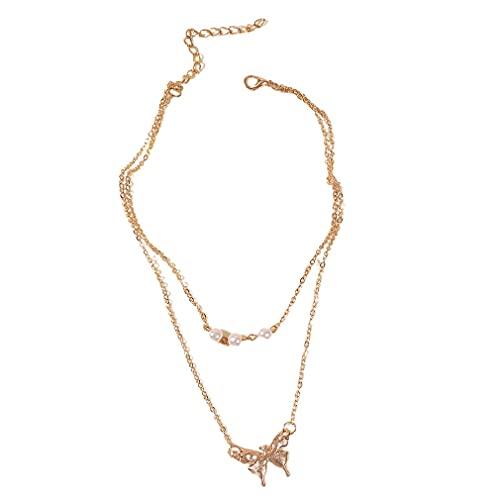 Collar de mariposa colgante vintage para mujer Boho Charm Gargantilla Collares oro doble capa