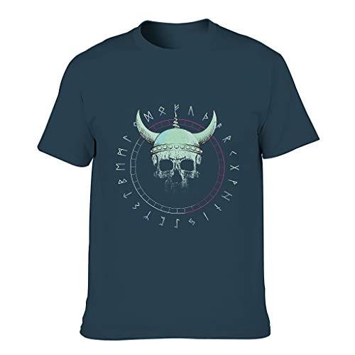 MiKiBi-77 Hombres Algodón Camiseta Viking Skull Elasticity Crew Neck - Top Shirt for Fitness