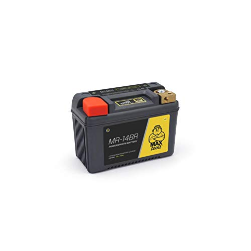 MAXTOOLS MR-14BR Batería LiFePO4 Superligera, para Moto, Quad y ATV, 12 V, con Carcasa Reforzada y Indicación Estado de Carga, Derecha, Negro, 280 cca