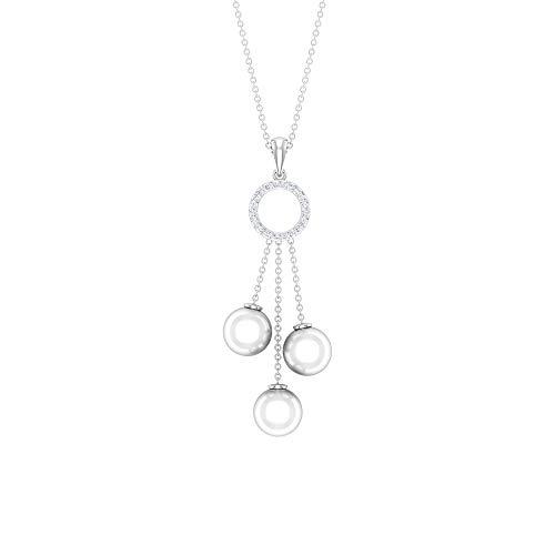 12.16 CT Freshwater Pearl Drop Pendant Necklace, HI-SI Diamond Open Circle Eternity Charm Pendants, Amazing Women Bridesmaid Pendants, Promise Pendant,18K White Gold Without Chain