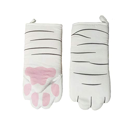 coil-c Heat Resistant Long Oven Gloves, 3D Cartoon Cats Oven Gloves, Professional Non-Slip Gloves, Long Made of Cotton, Baking Tool for BBQ Grilling(1 Piece)