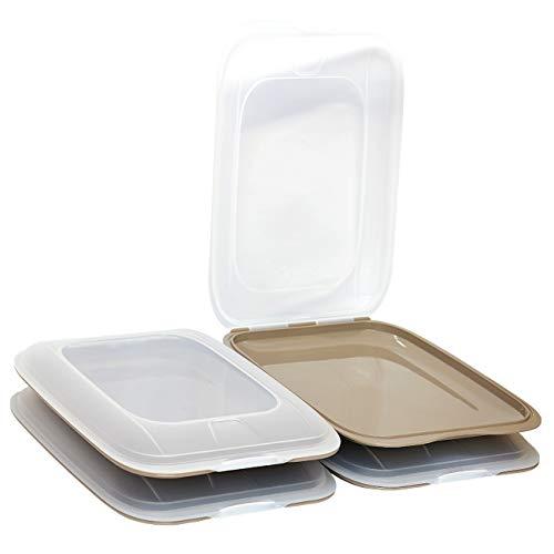 ENGELLAND - Hochwertige stapelbare Aufschnitt-Boxen, Frischhaltedose für Aufschnitt. Wurst Behälter. Perfekte Ordnung im Kühlschrank, 4 Stück Farbe Braun, Maße 25 x 17 x 3.3 cm
